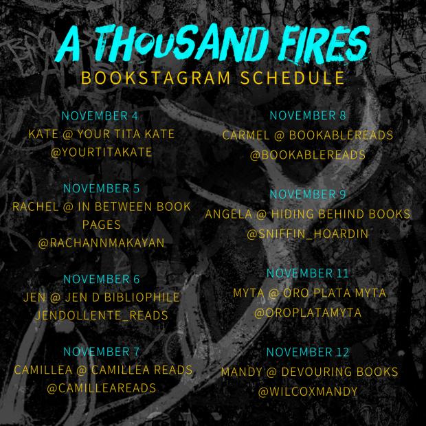 A Thousand Fires Bookstagram Tour Schedule